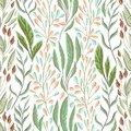 Seamless Pattern With Marine Plants, Leaves And Seaweed. Hand Drawn Marine Flora In Watercolor Style. Royalty Free Stock Photo - 104222685