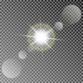 Shining Vector Sun With Colorful Light Effects. Transparent Vector Sun Light With Bokeh Isolated On Dark Background Stock Photos - 104241123