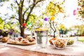 Table Set For A Garden Party Or Celebration Outside. Royalty Free Stock Photos - 104254868