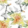 Watercolor Seamless Pattern With Colorful Flowers And Leaves On White Background, Watercolor Floral Pattern, Flowers In Royalty Free Stock Photo - 104257685