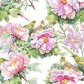 Watercolor Seamless Pattern With Colorful Flowers And Leaves On White Background, Watercolor Floral Pattern, Flowers In Royalty Free Stock Photos - 104257778