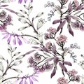 Watercolor Seamless Pattern With Colorful Flowers And Leaves On White Background, Watercolor Floral Pattern, Flowers In Stock Image - 104258081