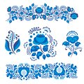 Russian Ornaments Art Gzhel Style Painted With Blue On White Flower Traditional Folk Bloom Branch Pattern Vector Stock Image - 104291231