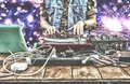9th Of March. World Day DJ. DJ Playing Music At Mixer Closeup. DJ At The Remote In A Nightclub Stock Image - 104300701