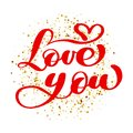 Text Love You Calligraphic On The Background Of Golden Confetti. Happy Valentines Day Card Ink Typography For Photo Stock Photos - 104303343
