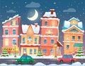 Christmas Cartoon Winter Town In Night. Vector Llustration. Stock Images - 104335214