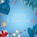 Merry Christmas Hand Drawn Lettering Greeting Background. Winter Elements Fir Branches, Knitted Blue Hat, Mittens,  Coffee Cup Stock Photos - 104466983
