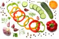 Mix Of Sliced Cucumber, Garlic, Sweet Bell Pepper And Parsley Isolated On White Background. Top View Stock Photos - 104500283