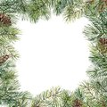 Watercolor Christmas Tree Floral Frame With Pine Cones. Hand Painted Fir Branch, Pine Cone Isolated On White Background Stock Image - 104502531
