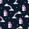 Seamless Pattern With Cute Unicorns And Clouds On Dark. Stock Photos - 104504473