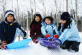 Four Kids Enjoying Winter Stock Photos - 10468113