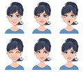 Facial Expressions Of A Beautiful Woman. Different Female Emotions Set. Stock Photos - 104626823