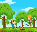 Two Boys Playing Seesaw In The Park Royalty Free Stock Images - 104640169