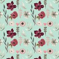 Seamless Pattern - Watercolor Painted  Autumn Flowers Pattern Stock Photography - 104663272