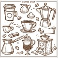 Coffee Shop Maker Equipment Tools Vector Sketch Icons Cup, Beans For Cafe Royalty Free Stock Image - 104726276