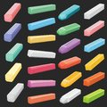 Color Chalk Pastel Sticks, Artist Supplies Vector Set Isolated Royalty Free Stock Images - 104745319