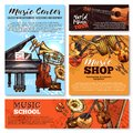Vector Sketch Musical Instruments Shop Posters Royalty Free Stock Photo - 104772315