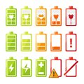 Icon Set With Different Status Of Battery Charger For Mobile Phone Or Smartphone Royalty Free Stock Images - 104805059