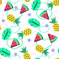 Seamless Summer Pattern With Bright Orange Pineapple And Watermelon And Tropical Element On Brith Background For Teenagers Royalty Free Stock Photography - 104828327