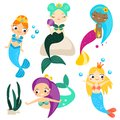 Cute Cartoon Mermaids Set And Design Elements. Stickers, Clip Art For Girls In Kawaii Style Stock Image - 104832541