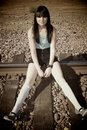 Girl On The Train Tracks Royalty Free Stock Images - 10490779