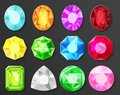 Vector Colored Gems Diamonds Set Isolated Royalty Free Stock Photo - 104927245