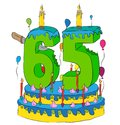 65 Birthday Cake With Number Sixty Five Candle, Celebrating Sixty-Fifth Year Of Life, Colorful Balloons And Chocolate Coating Stock Photography - 104939832