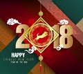 Happy New Year 2018 Greeting Card And Chinese New Year Of The Dog Royalty Free Stock Photo - 104976445