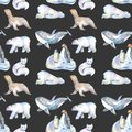 Watercolor Cute Polar Animals Illustrations Seamless Pattern Stock Photography - 105067932