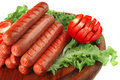 Grilled Sausages Served On Wood Stock Photography - 10512832