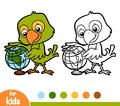 Coloring Book, Parrot And Globe Stock Images - 105112464
