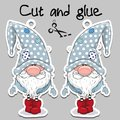 Cute Cartoon Gnome On A Gray Background Royalty Free Stock Images - 105169879