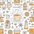 Seamless Pattern Of Coffee, Vector Background. Cute Beverages, Hot Drinks Flat Line Icons - Coffeemaker Machine, Beans Stock Photography - 105223732