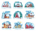 Winter Country House And Cabin Set Stock Photography - 105225872