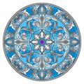 Stained Glass Illustration , Round Mirror Image With Floral Ornaments And Swirls Royalty Free Stock Images - 105227149
