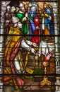 Colorful Stained Glass Window In St Louis Cathedral In New Orlea Stock Photography - 105244432