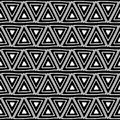 Seamless Vector Pattern. Black And White Geometrical Background With Hand Drawn Decorative Tribal Elements. Print With Ethnic, Fol Stock Images - 105307684