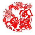 Red Flat Paper-cut On White As A Symbol Of Chinese New Year Of The Dog Royalty Free Stock Images - 105312459