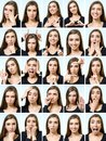 Collage Of Beautiful Girl With Different Facial Expressions Royalty Free Stock Image - 105381076