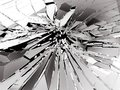 Pieces Of Broken Or Shattered Glass On Black Stock Photography - 105383742