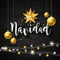 Christmas Illustration With Spanish Feliz Navidad Typography And Gold Cutout Paper Star, Glass Ball On Black Vintage Royalty Free Stock Photo - 105390725