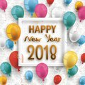 Colored Balloons Frame Happy New Year 2018 Ornaments Wallpaper Stock Photography - 105398852