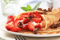 Crepes With Curd Cheese And Strawberries Stock Photo - 10548760