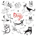 Playing Dogs. Funny Lap-dog, Happy Pug, Mongrels And Other Breeds. Set Of Isolated Vector Drawings For Design Stock Photo - 105455640