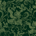 Seamless Vintage Grunge Floral Pattern With Orchid Stock Images - 10558764