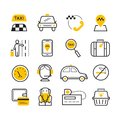 Taxi App Modern Linear Icons Set. Vector Travel Line Style Symbols. Royalty Free Stock Photos - 105511258