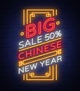 Chinese New Year Sales Poster In Neon Style. Neon Sign, Bright Banner, Flameless Neon Sign On New Year`s Discount. Flyer Royalty Free Stock Image - 105682066