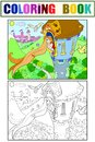 Princess Rapunzel In The Stone Tower Coloring For Children Cartoon Vector Illustration Royalty Free Stock Images - 105703829