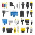 Cable Ports Jacks Different Digital Outputs Vector Flat  Royalty Free Stock Image - 105757186