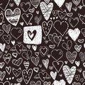 Funny Doodle Hearts Icons Seamless Pattern. Hand Drawn Valentine Stock Photography - 105758732
